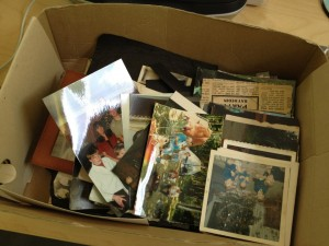 Box of photos used for photo collage mural
